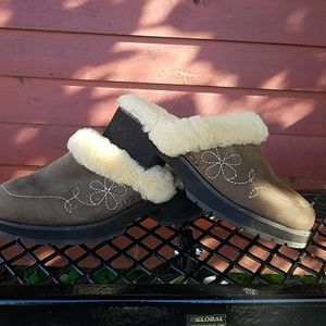 Ugg shearling suede clogs